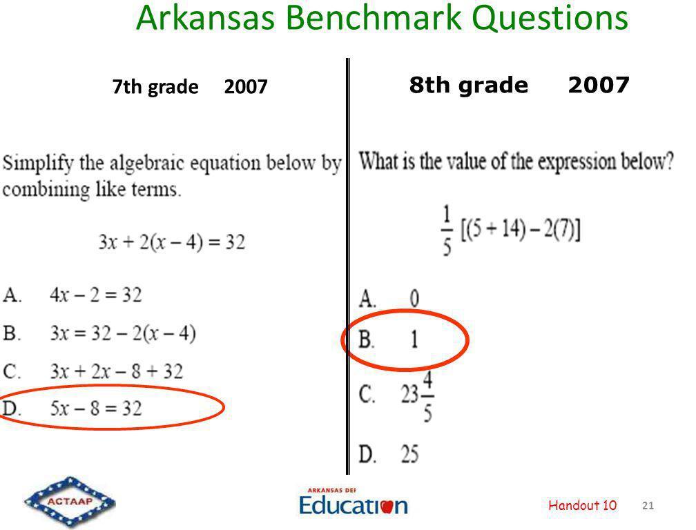 Arkansas Benchmark Questions