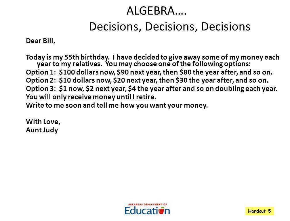ALGEBRA…. Decisions, Decisions, Decisions