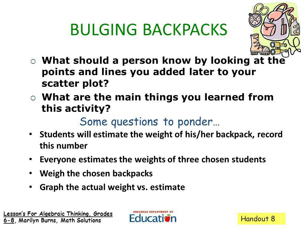 BULGING BACKPACKS Some questions to ponder…