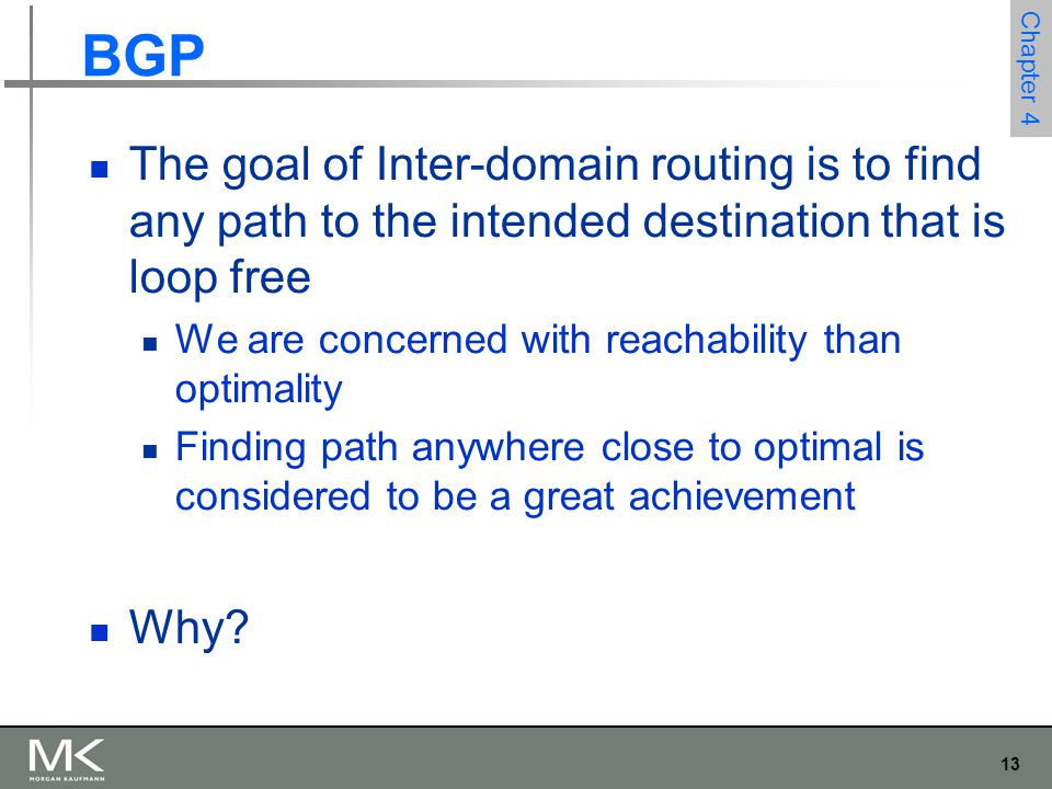 BGP The goal of Inter-domain routing is to find any path to the intended destination that is loop free.