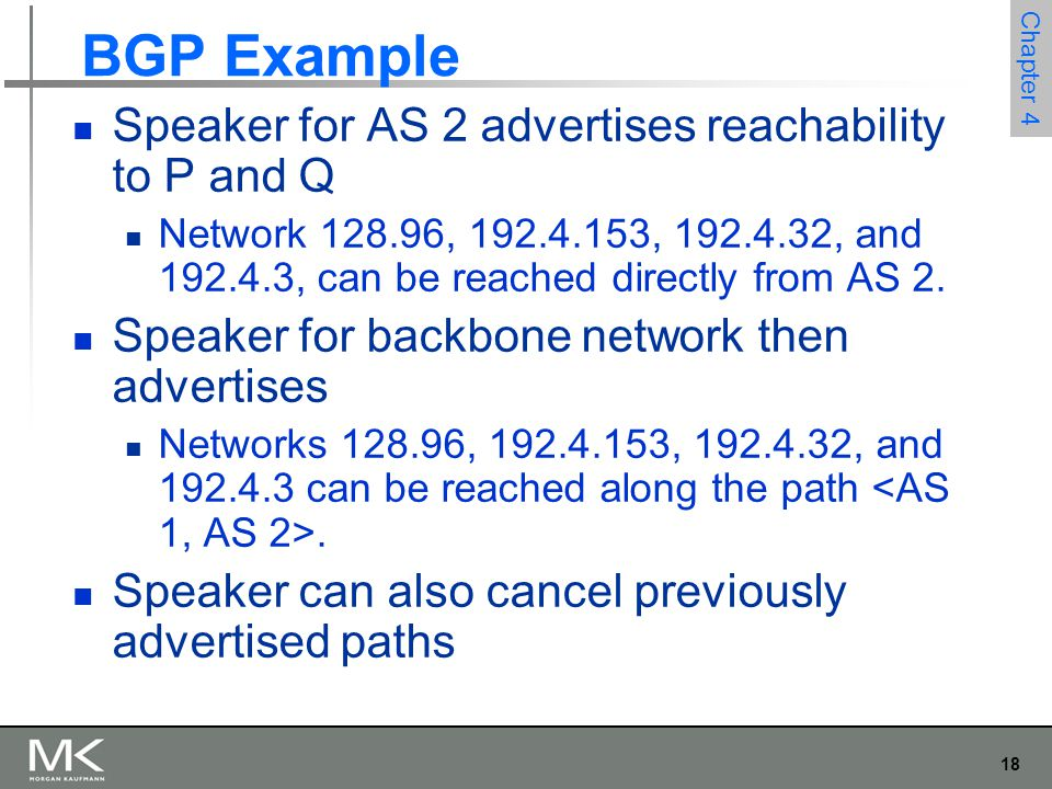 BGP Example Speaker for AS 2 advertises reachability to P and Q