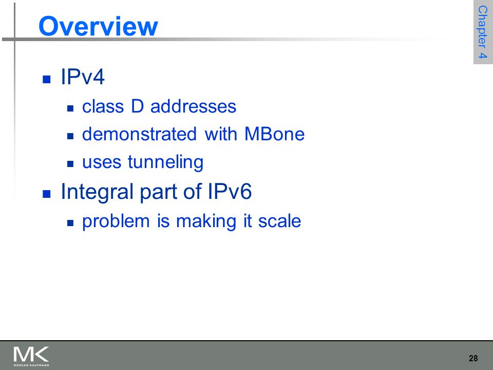 Overview IPv4 Integral part of IPv6 class D addresses