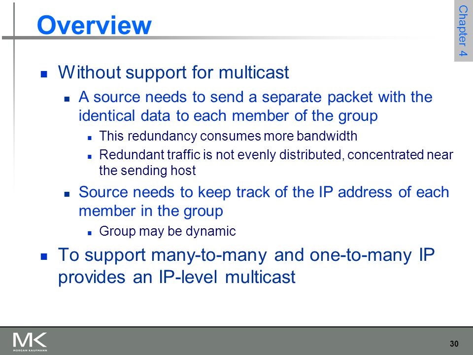 Overview Without support for multicast