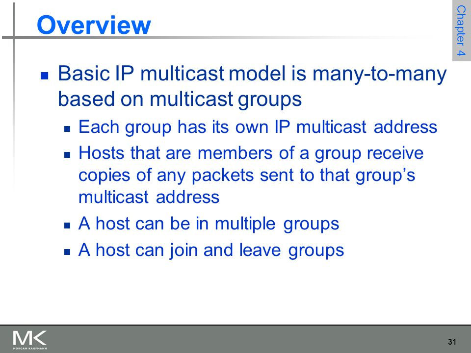 Overview Basic IP multicast model is many-to-many based on multicast groups. Each group has its own IP multicast address.