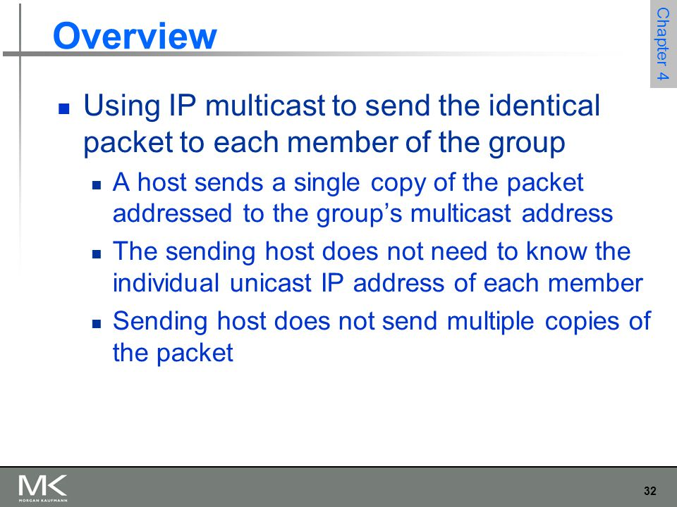 Overview Using IP multicast to send the identical packet to each member of the group.