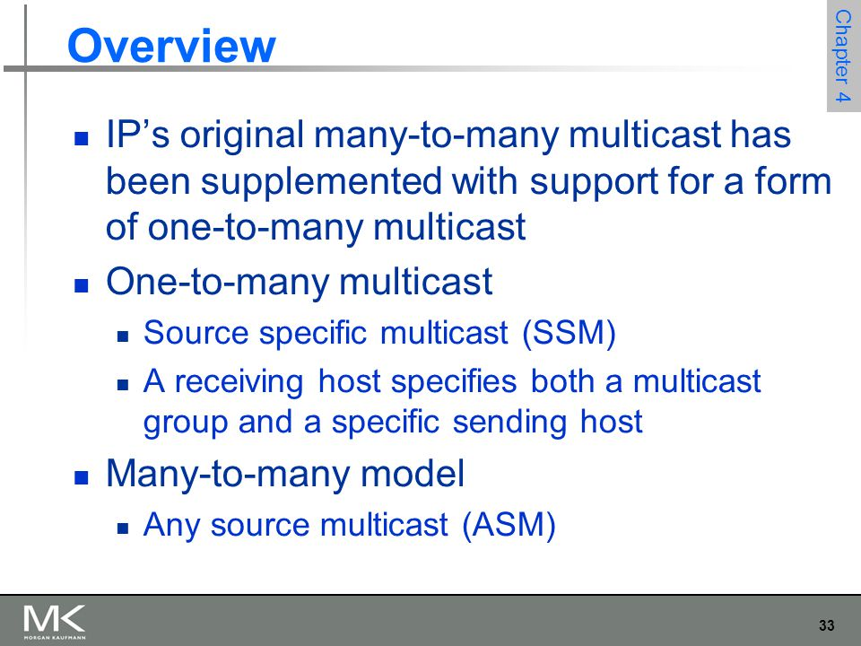 Overview IP's original many-to-many multicast has been supplemented with support for a form of one-to-many multicast.
