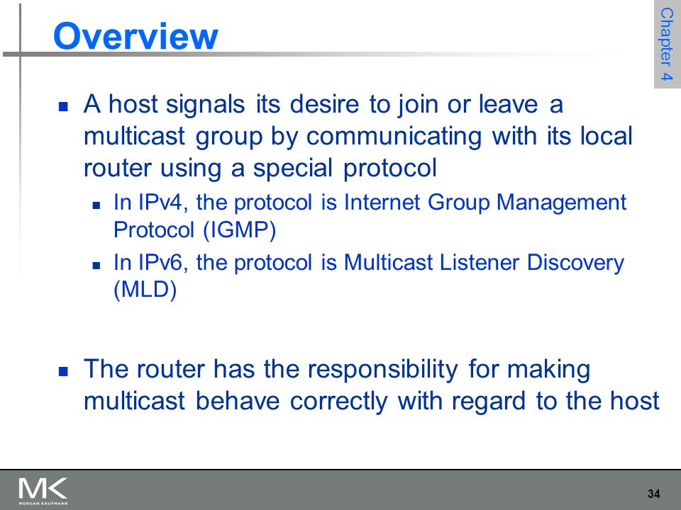 Overview A host signals its desire to join or leave a multicast group by communicating with its local router using a special protocol.