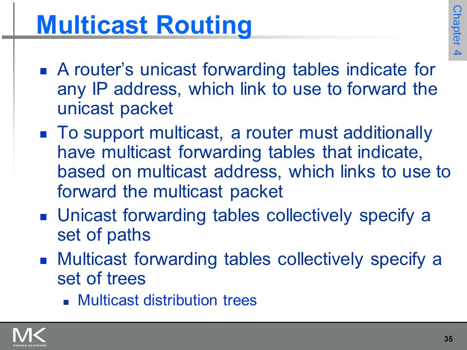 Multicast Routing A router's unicast forwarding tables indicate for any IP address, which link to use to forward the unicast packet.