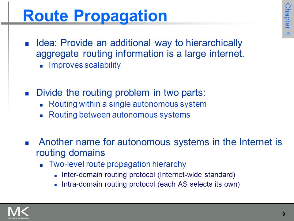 Route Propagation Idea: Provide an additional way to hierarchically aggregate routing information is a large internet.
