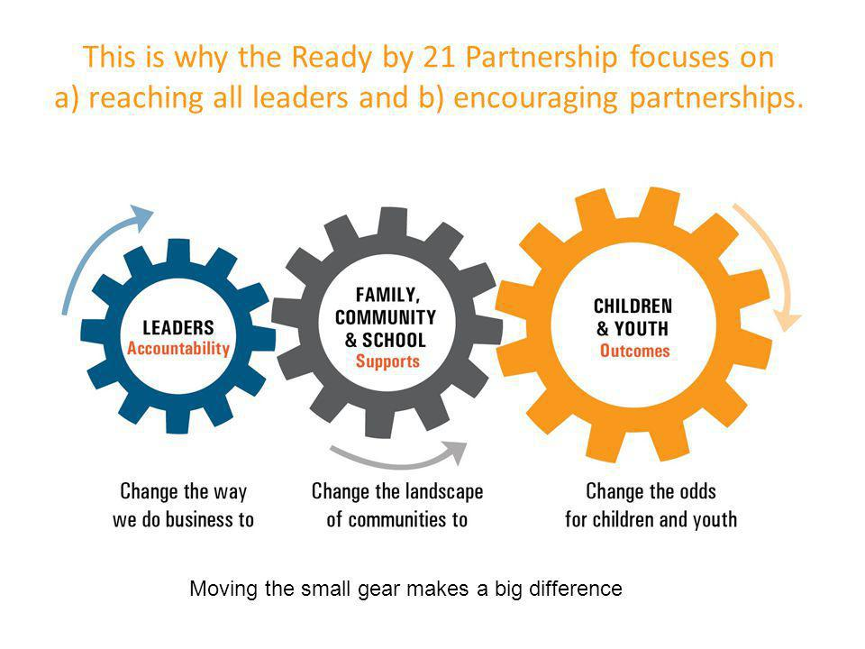 This is why the Ready by 21 Partnership focuses on a) reaching all leaders and b) encouraging partnerships.