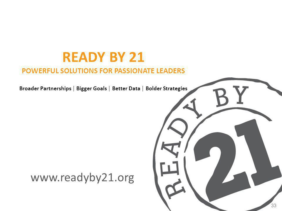 Ready by 21 Powerful solutions for passionate leaders Broader Partnerships │ Bigger Goals │ Better Data │ Bolder Strategies