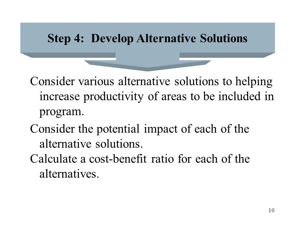 Step 4: Develop Alternative Solutions
