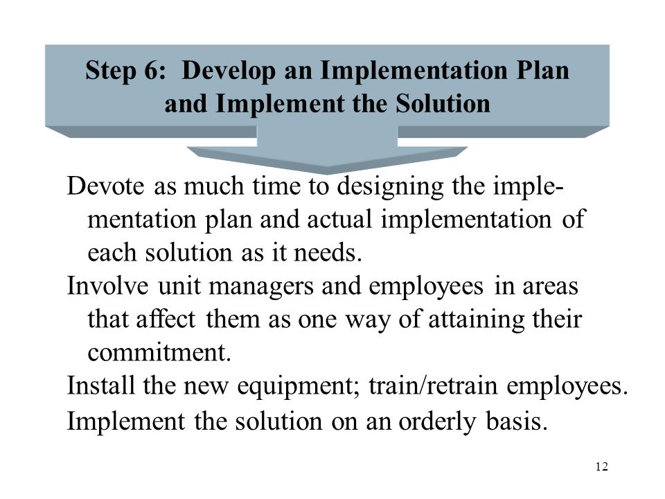 Step 6: Develop an Implementation Plan and Implement the Solution