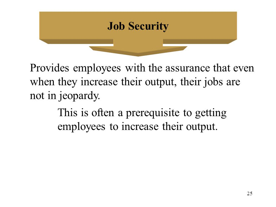 Job Security Provides employees with the assurance that even. when they increase their output, their jobs are.