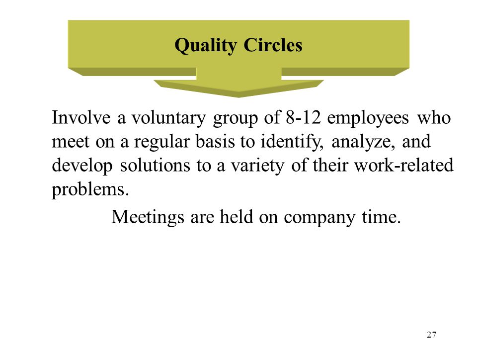 Quality Circles Involve a voluntary group of 8-12 employees who. meet on a regular basis to identify, analyze, and.