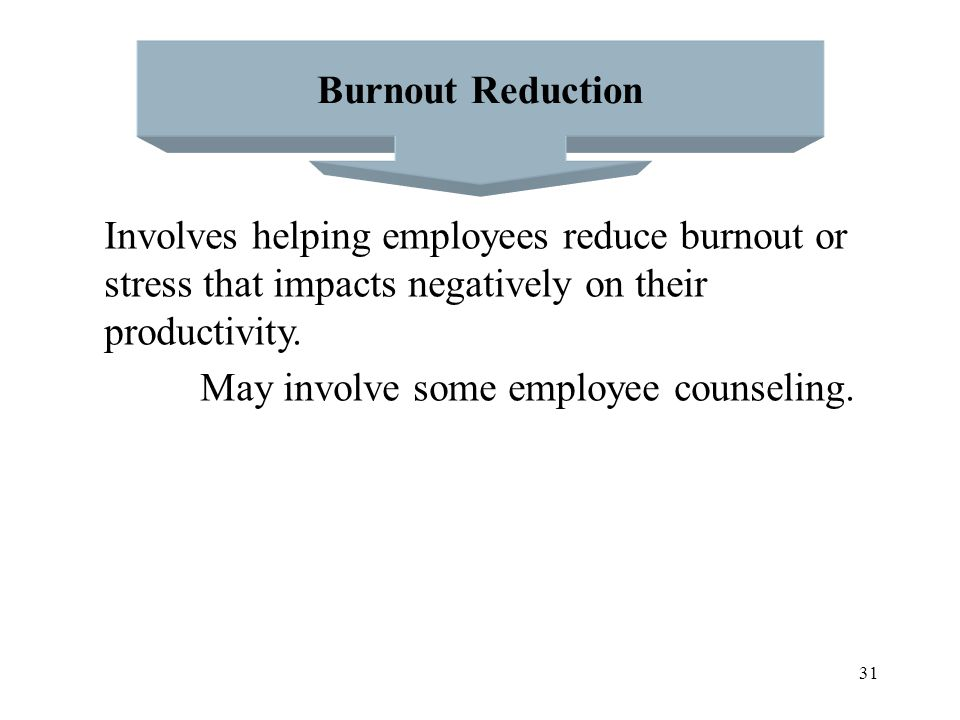 Burnout Reduction Involves helping employees reduce burnout or. stress that impacts negatively on their.