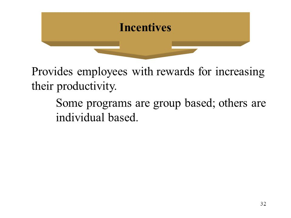 Incentives Provides employees with rewards for increasing. their productivity. Some programs are group based; others are.