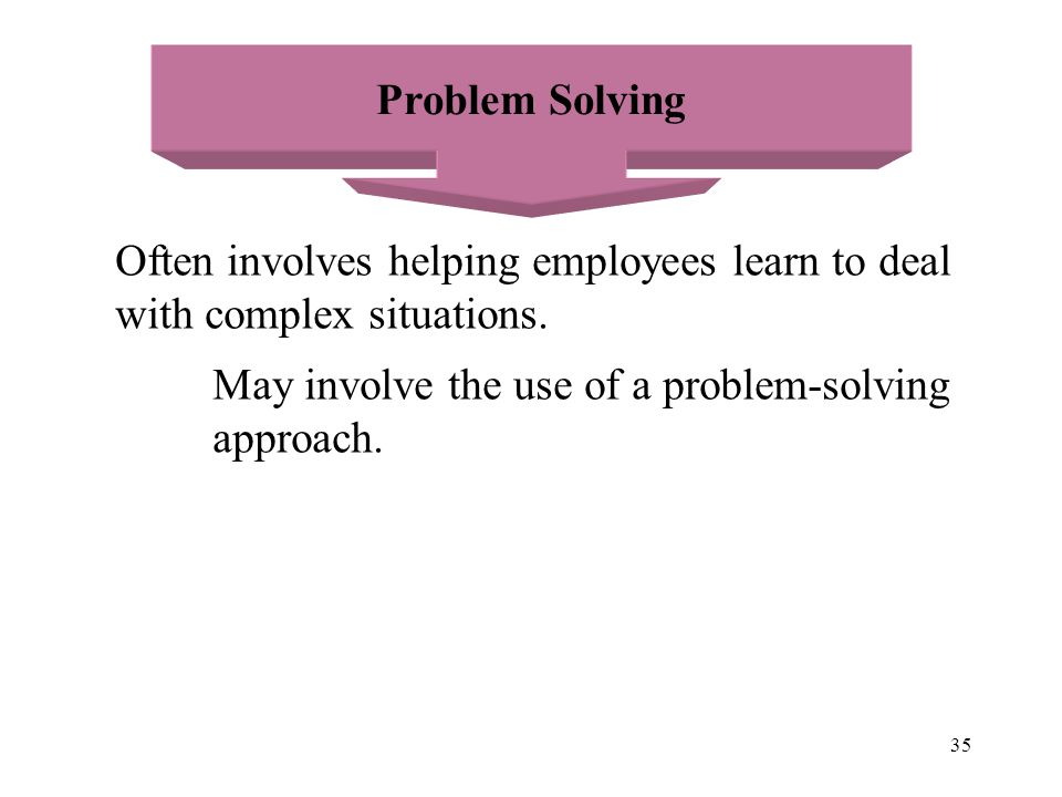 Problem Solving Often involves helping employees learn to deal. with complex situations. May involve the use of a problem-solving.