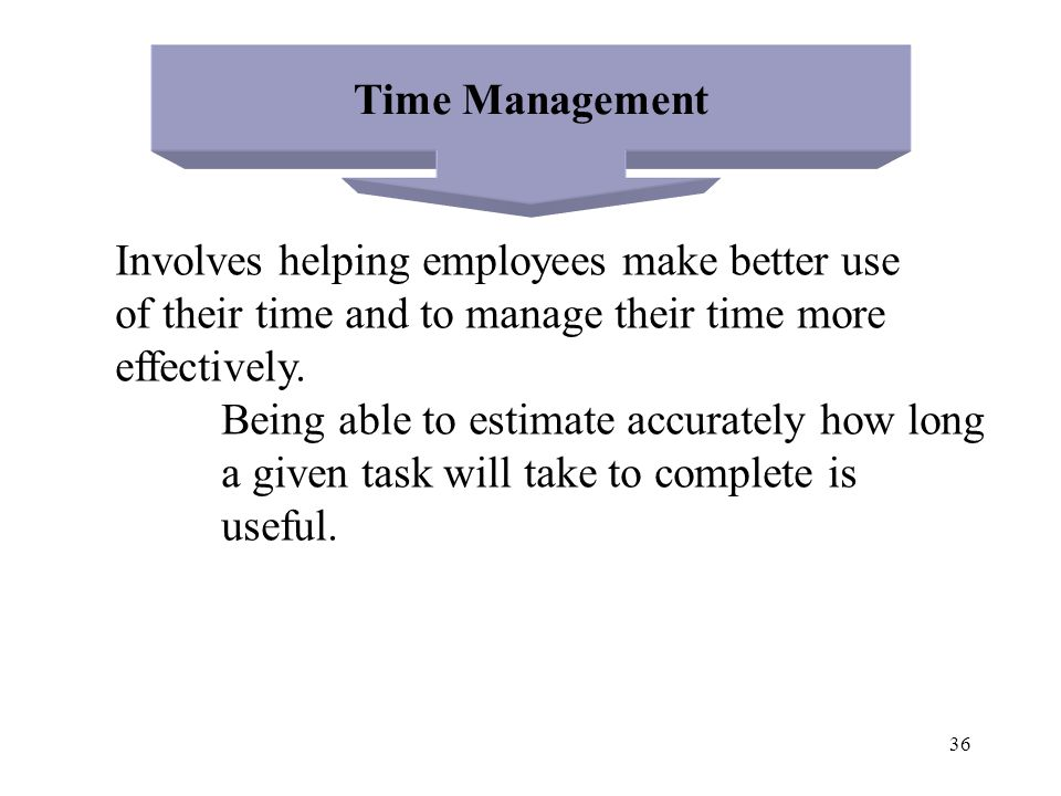 Time Management Involves helping employees make better use. of their time and to manage their time more.