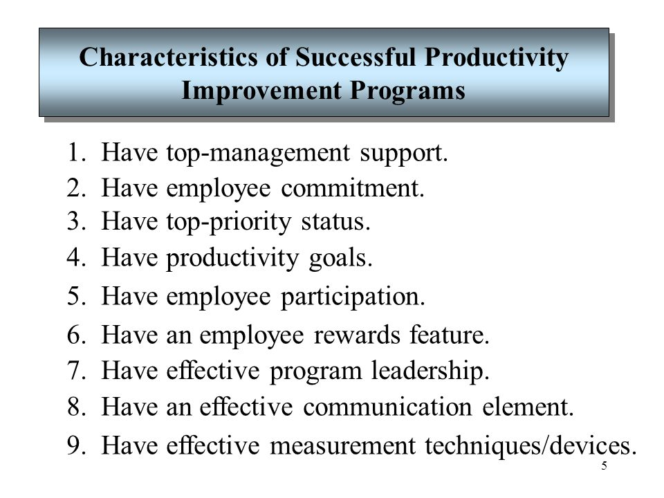Characteristics of Successful Productivity