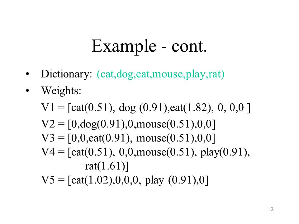 Example - cont. Dictionary: (cat,dog,eat,mouse,play,rat) Weights:
