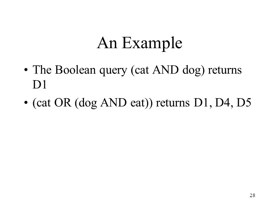An Example The Boolean query (cat AND dog) returns D1