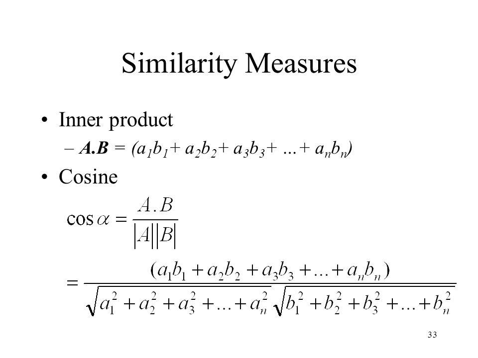 Similarity Measures Inner product Cosine