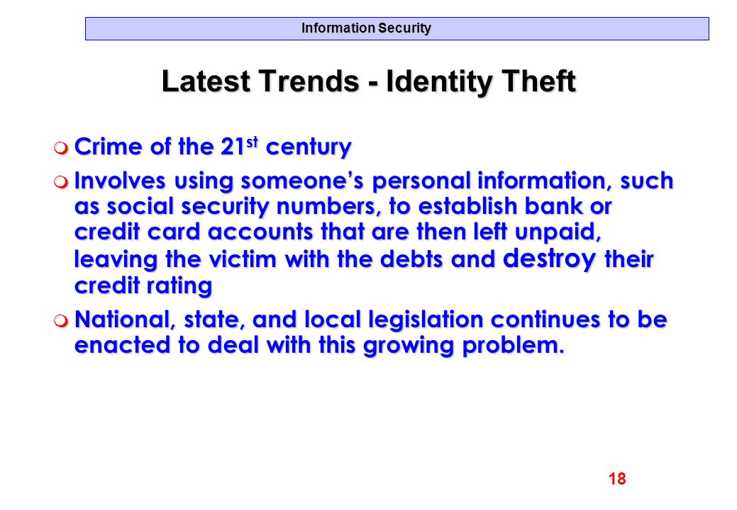 Latest Trends - Identity Theft