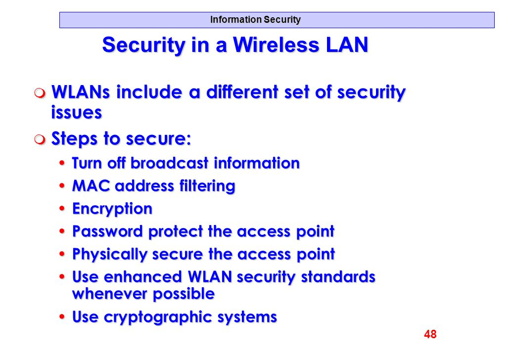Security in a Wireless LAN