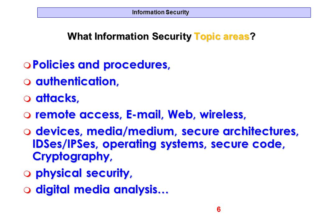 What Information Security Topic areas