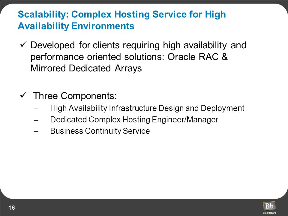 Scalability: Complex Hosting Service for High Availability Environments