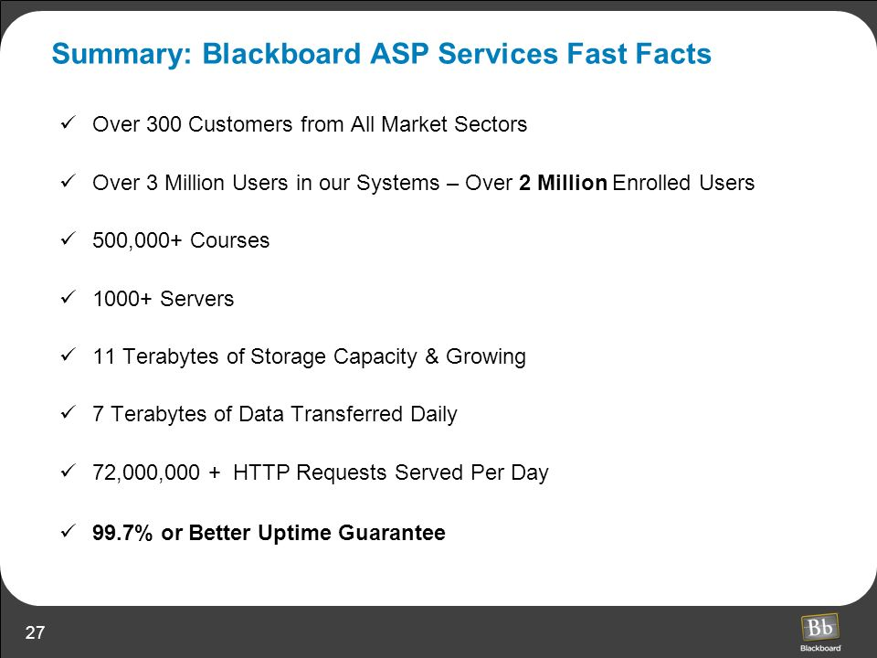 Summary: Blackboard ASP Services Fast Facts
