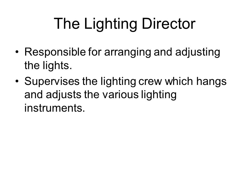 The Lighting Director Responsible for arranging and adjusting the lights.