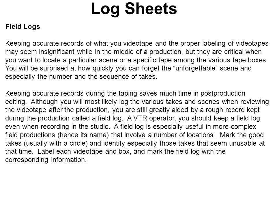 Log Sheets Field Logs.