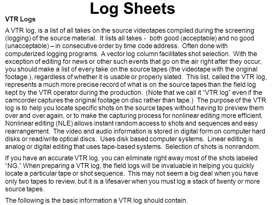 Log Sheets VTR Logs.
