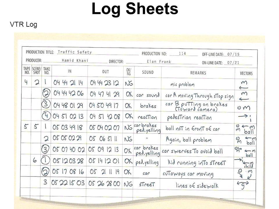 Log Sheets VTR Log