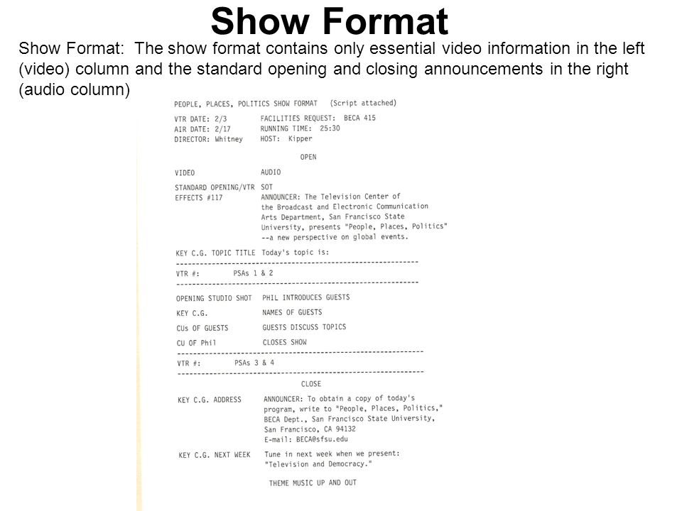 Show Format