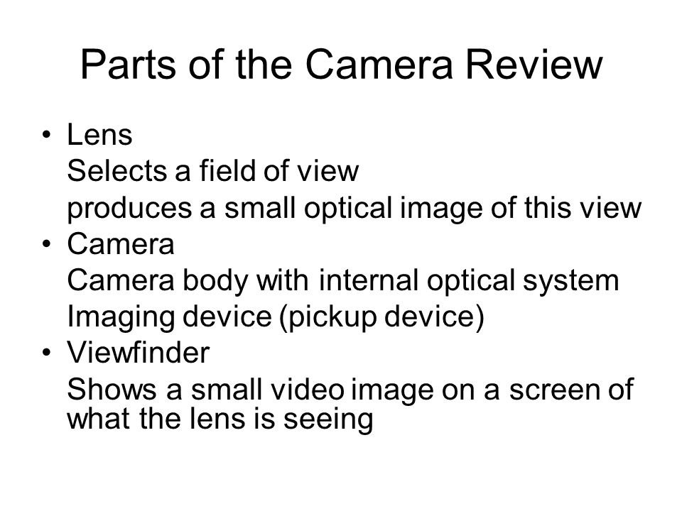Parts of the Camera Review