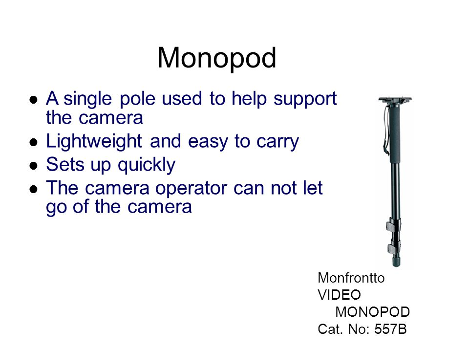 Monopod A single pole used to help support the camera