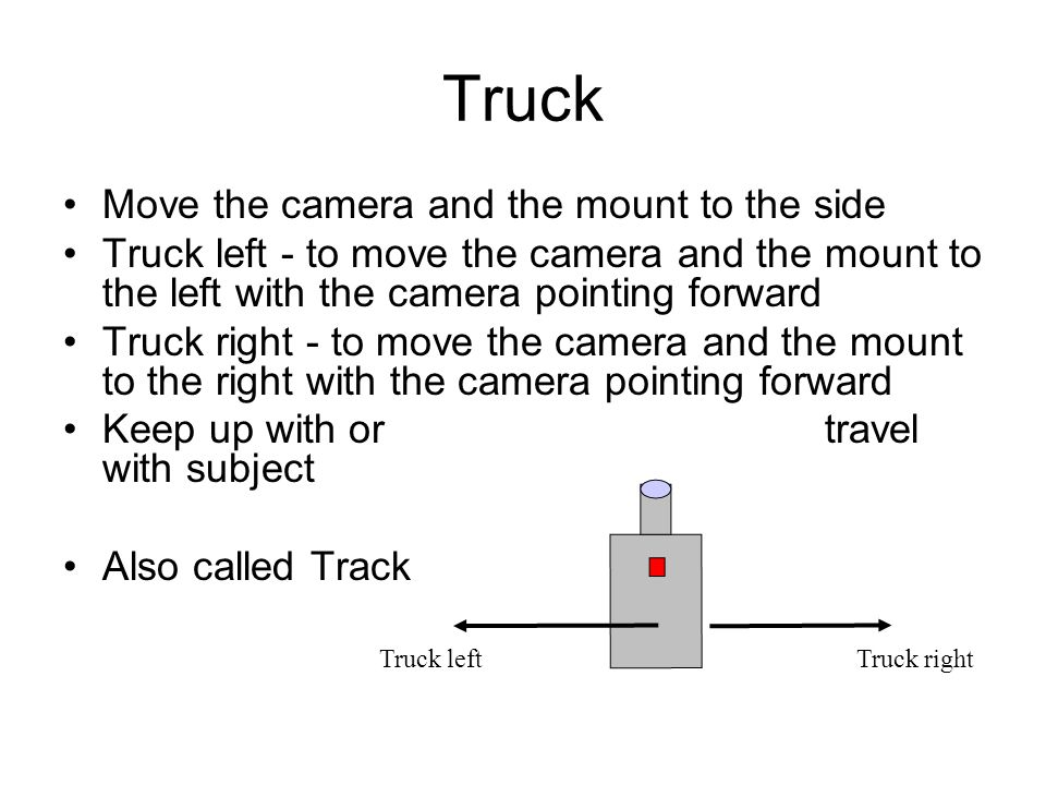 Truck Move the camera and the mount to the side