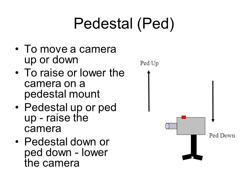 Pedestal (Ped) To move a camera up or down