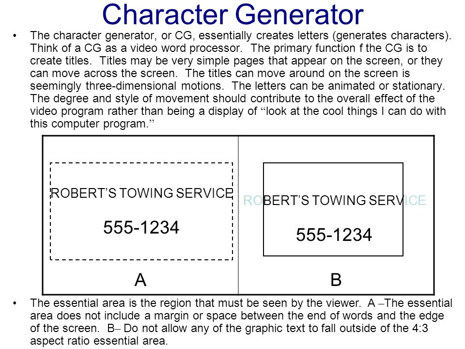 Character Generator A B 555-1234 555-1234 ROBERT'S TOWING SERVICE