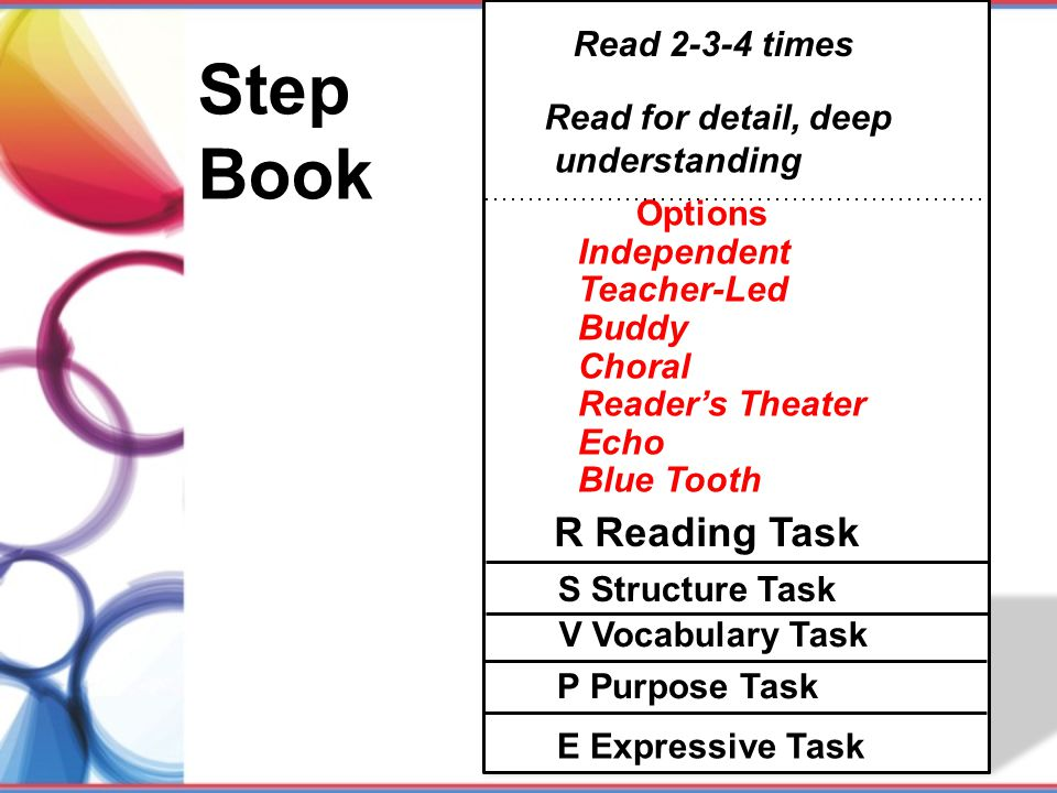 Step Book R Reading Task Read 2-3-4 times Read for detail, deep