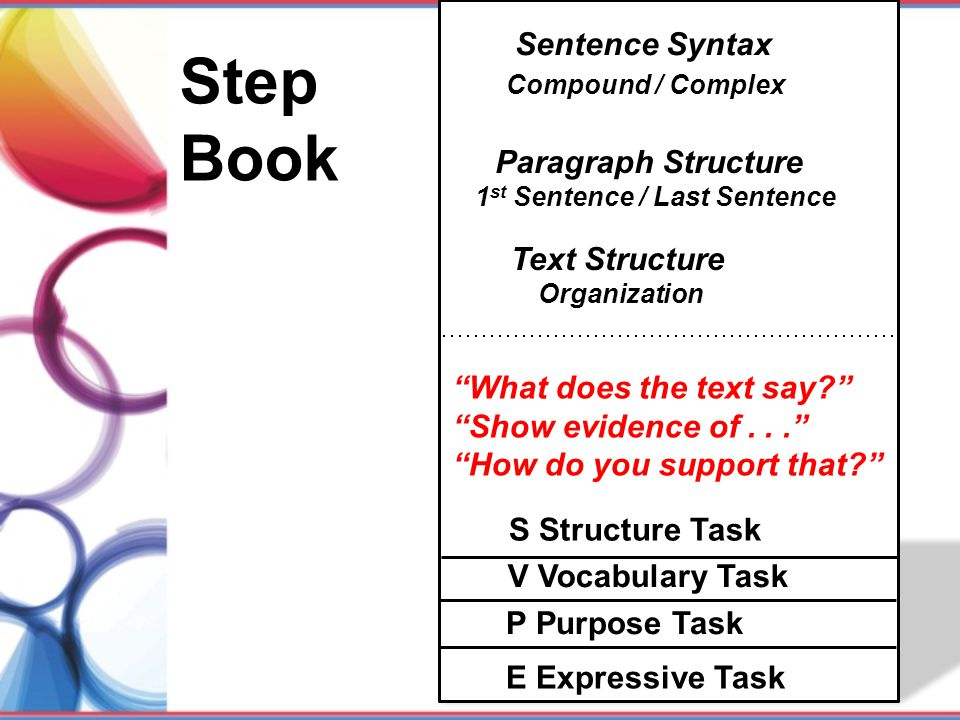 Step Book Sentence Syntax Compound / Complex Paragraph Structure