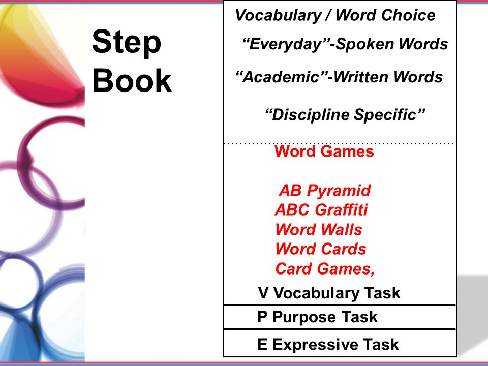 Step Book Vocabulary / Word Choice Everyday -Spoken Words