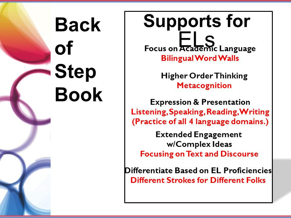 Back of Step Book Supports for ELs Focus on Academic Language