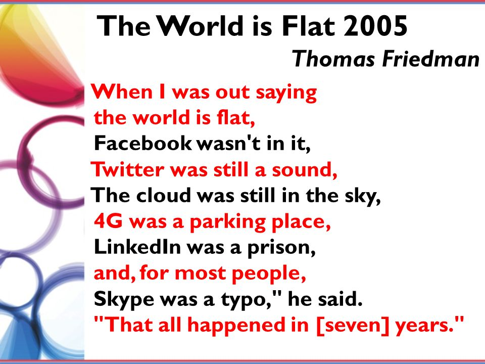 The World is Flat 2005 Thomas Friedman When I was out saying