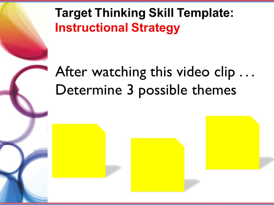 After watching this video clip . . . Determine 3 possible themes