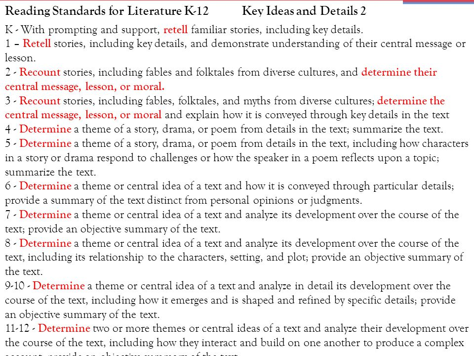 Reading Standards for Literature K-12 Key Ideas and Details 2