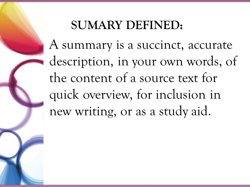 SUMARY DEFINED: